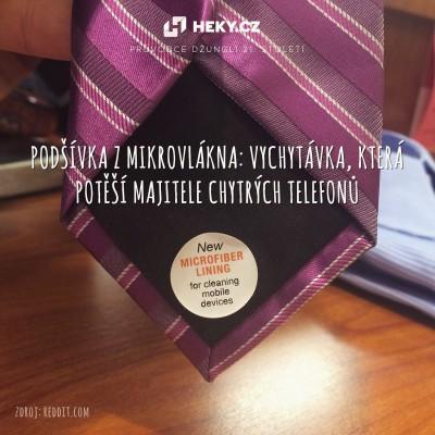 kravata s podšívkou z mikrovlákna
