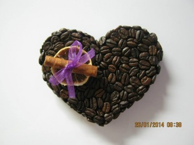 heky_srdce z kávových zrn