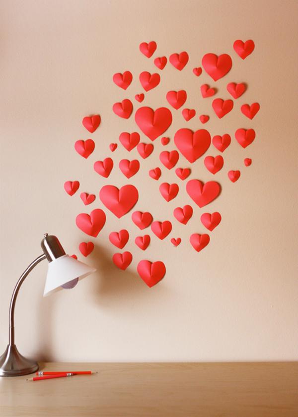 Vychyt vky 3d pap rov srd ka drobn for Decoracion de pared para san valentin