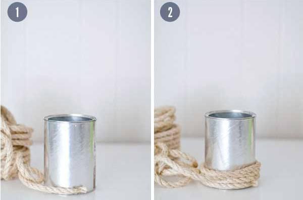 Konzervu natřete lepidlem a omotejte lýkem nebo lanem.