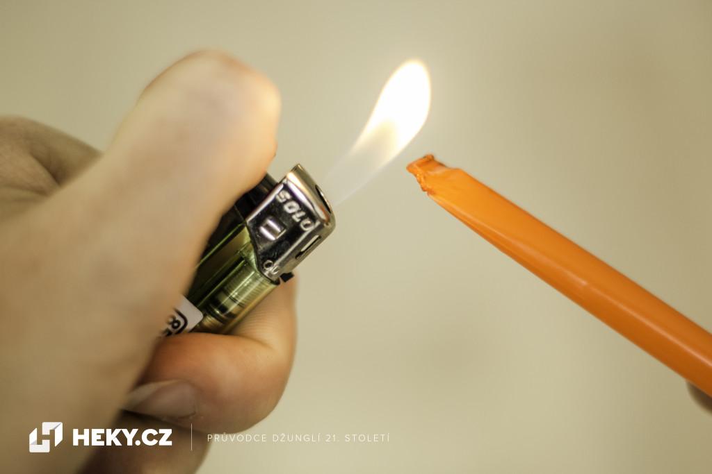 konec brčka zatavte zapalovačem